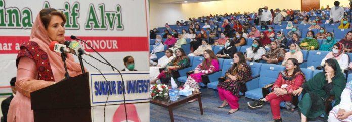بروقت تشخیص ہونے سے چھاتی کے سرطان کا علاج ممکن ہے ،خاتون اول بیگم ثمینہ علوی کا آئی بی اے سکھر میں تقریب خطاب